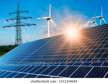 Photovoltaic system, wind turbine and power pole with bright sun