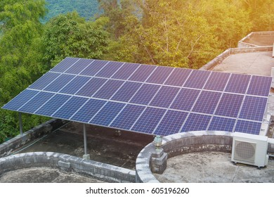 photovoltaic using renewable solar energy in forest.