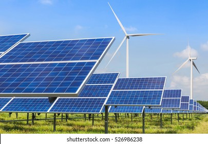 photovoltaics and wind turbines generating electricity in solar power station alternative energy from nature