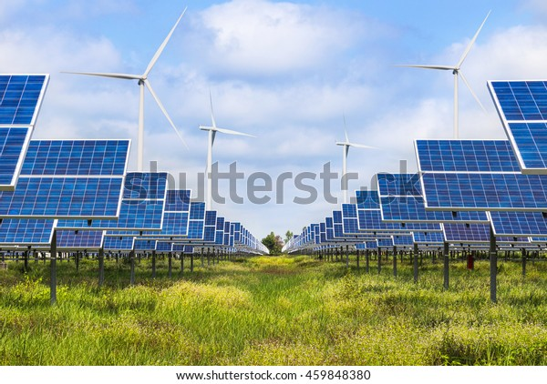 Photovoltaics and wind turbines generating electricity in solar farm station alternative energy from the natural