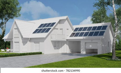Photovoltaik solar system on roof of a white house modell (3D Rendering)