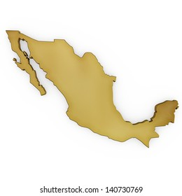 The photrealistic golden shape of Mexico isolated on white (series) . The rendering even has tiny scratches