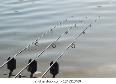 phots showing  scenes carp fishing seines , fishing rods and watersides in france in the of France Pyrenées