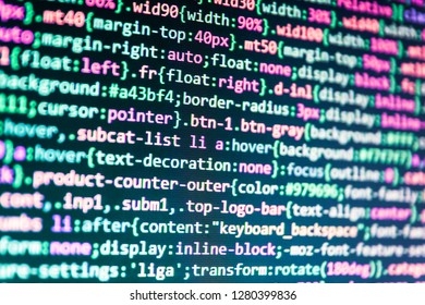 PHP development, software site code,  Closeup developing programming and coding technologies,  Hacker background,  Web abstract programming and created virus on laptop screen