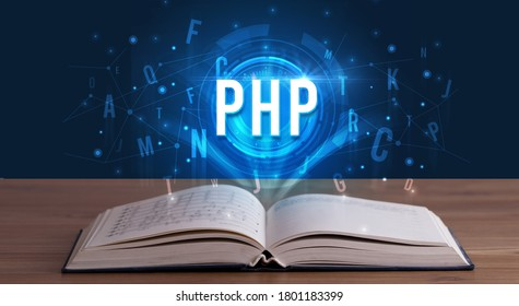 PHP inscription coming out from an open book, digital technology concept