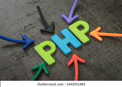 PHP modern programming language for software development or application concept, multi color arrows pointing to the word PHP at the center of black cement chalkboard wall.