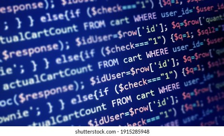 PHP programming language on computer screen. Monitor technology concept. Background of program code. Web dewelopment concept