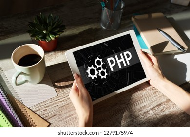 PHP programming language. Web and application development concept.