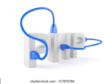 PHP text with network cable isolated on white background. 3d illustration