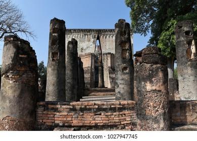 Phra Achana, a large Sukothia style Buddha image of Wat Sri Chum, a UNESCO world heritage site, Thailand