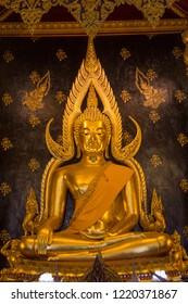 Phra Buddha Chinnarat at Phra Si Rattana Mahathat temple ,Phitsanulok Province, Thailand.