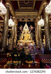 Phra Buddha Chinnarat in Wat Phra Sri Rattana Mahathat temple , Phitsanulok Thailand.