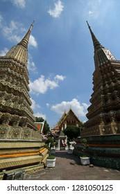 Phra Maha Chedi Si Rajakarn, group of four large stupas in Wat Pho temple complex, Bangkok