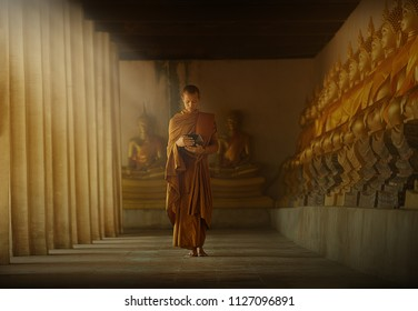 PHRA NAKHON SI AYUTTHAYA CITY- June 19, 2017 Novice monks walking meditation,MONK Southeast Asian young Buddhist monk In one of the temples in Thailand.