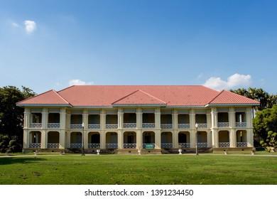 Phra Nakhon Si Ayutthaya, Thailand - APRIL 30, 2019 :  Bang Pa-In Royal Palace in Phra Nakhon Si Ayutthaya Province, Thailand.