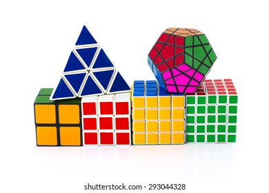 PHRA NAKHON SI AYUTTHAYA THAILAND JUNE 30.Rubik's Cube invented by a Hungarian architect Erno Rubik in 1974.Rubik's cube  on a white background. In Phra Nakhon Si Ayutthaya Thailand on 30 June 2015.