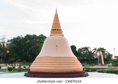 Phra pathom chedi is reproduced to mini size in mini siam, Thailand.