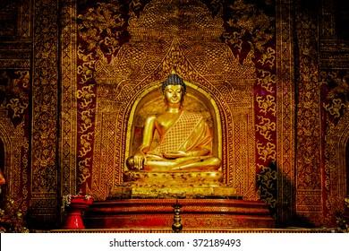 Phra Phuttha Sihing Buddha at Phra Sing Waramahavihan Temple, Thailand.