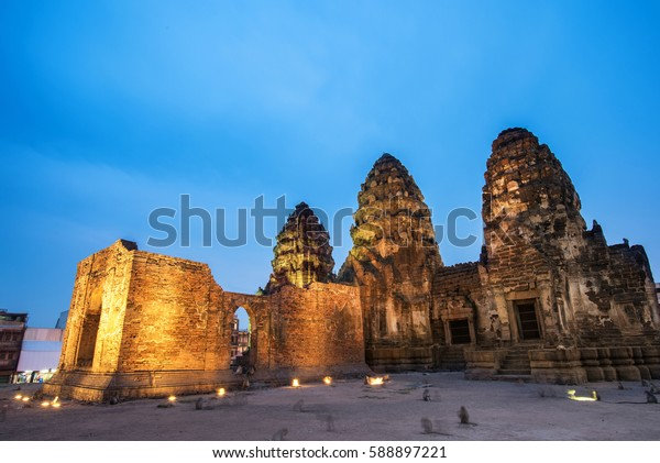 Phra Prang Sam Yod . Lopburi, Thailand. Religious buildings constructed by the ancient Khmer art.