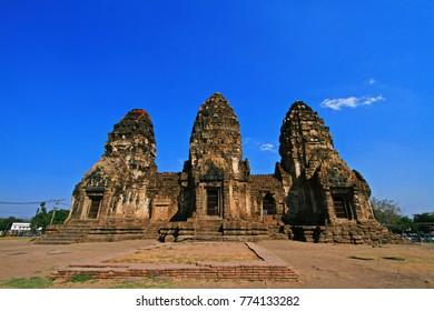 Phra Prang Sam Yot Ancient Ruins in the city of Lop Buri, Thailand.