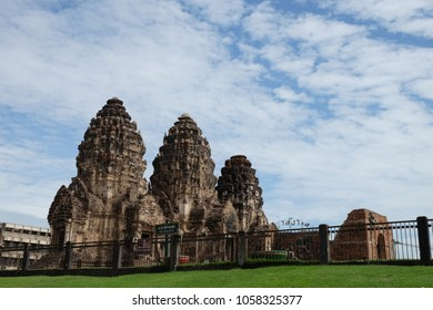 Phra prang Sam Yot temple an ancient and historical attractions and one of the most important archaeology of Lopburi province. Thailand.