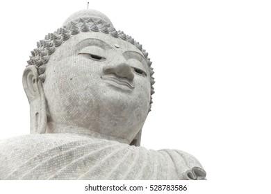 Phra Puttamingmongkol Akenakkiri Big Buddha Statue on island of Phuket on white background