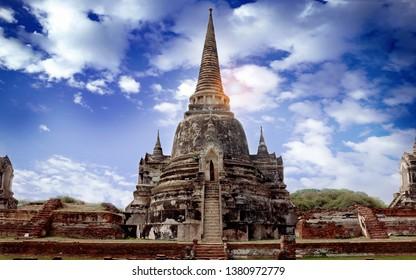 Phra Sri Sanphet Temple, Phra Nakhon Si Ayutthaya, Thailand, World Heritage