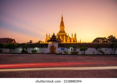 Phra That Luang of Vientiane, Lao PDR. It is a beautiful golden relic.