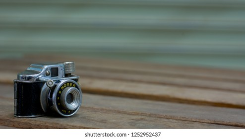 Phrae Thailand / 09Dec2018 -Homer Subminiature Miniature 17.5mm Film Camera One of the smallest camera in the world it's Japanese Made Camera the Spy Camera