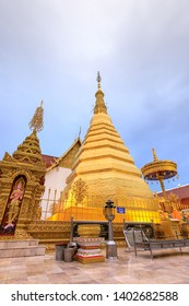 Phrae, Thailand - December 29, 2018: Golden pagoda for year of tiger at  Wat Prathat Cho Hae Temple in province.