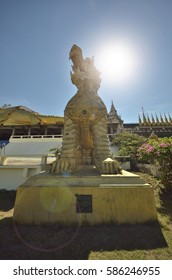 PHRAE, THAILAND - JANUARY 20, 2017 : King lions statue at Wat Phra That Suthon Mongkol Khiri ( Wat mean temple in Thai language ). This temple is designed from Thai, Burmese and Laotian styles