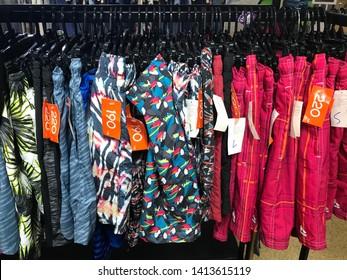 Phranakorn Sri Ayuthaya, Thailand-1June,2018: Sport shorts with price tag hanging on rack, in fashion shopping zone in Lotus Ayuthaya Park, biggest mall in Ayuthaya