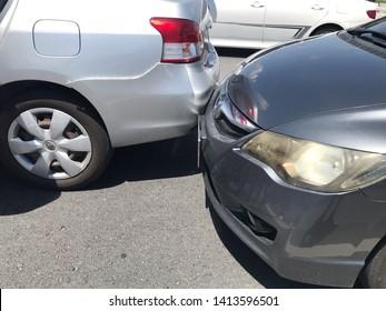 Phranakorn Sri Ayuthaya, Thailand-2June,2018: Traffic car accident on the road, crash between Honda Civic and Toyota Vios