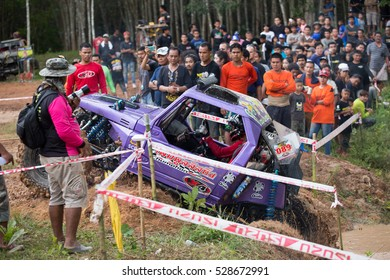 PHRASAENG, SURATTHANI - November 19, 2016: off-road vehicle cars moving on the off road at competitions, phrasaeng, Thailand. Suratthani.