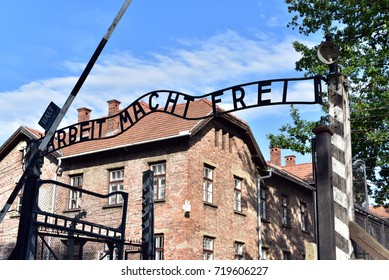 "The phrase on the main entrance gateway to the Auschwitz camp of Auschwitz-Birkenau translates to ""Work will make you free."", Poland"