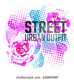 Phrase Street Urban Outfit With Halftone Pattern And Flowers T Shirt Design Style