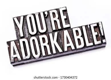 """The phrase """"You're Adorkable"""" in letterpress type. Cross processed, narrow focus."""