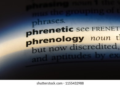 phrenology word in a dictionary. phrenology concept.