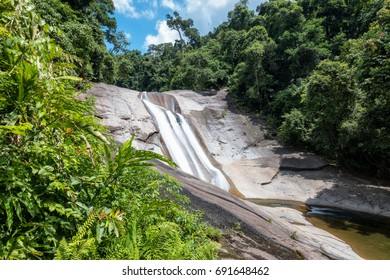 Phromlok waterfall in tropical rainforest national park at nakhon si thammarat, thailand