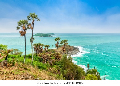 Phromthep Cape, Beautiful Andaman sea view in Phuket island, Thailand. Blue sky and turquoise color sea.