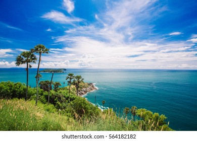 Phromthep Cape, Beautiful Andaman sea view in Phuket island, Thailand. Blue sky and turquoise colour sea,Island in Thailand,with flare,seascape,vacation concept