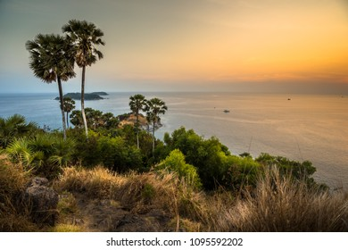 Phromthep cape viewpoint over sunset in Phuket,Thailand