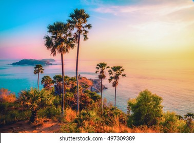 Phromthep cape viewpoint at twilight sky in Phuket,Thailand