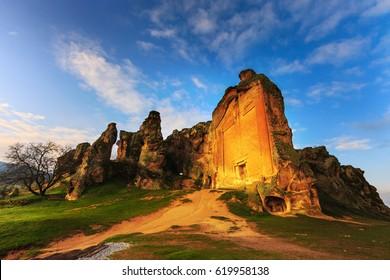 Phrygia Yazilikaya and the cave houses in ancient Midas City, Eskisehir,Turkey