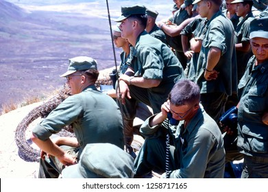 Phu Bai, Quang Tri Province / Vietnam - June 10, 1967: U.S. Marines selected for a special pacification program in Vietnam, the Combined Action Program, learning about artillery support.