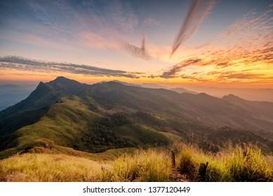 phu chee dow mountain (phu chee dao/phu chi dao) , Beautiful landscape sunrise mountain in Chiang rai , Northern of Thailand