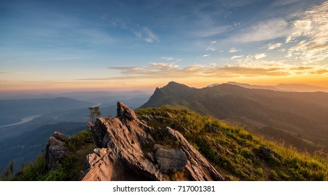 phu chee dow mountain (phu chee dao/phu chi dao) , Beautiful landscape sunrise mountain in Chiang rai , Northern of Thailand