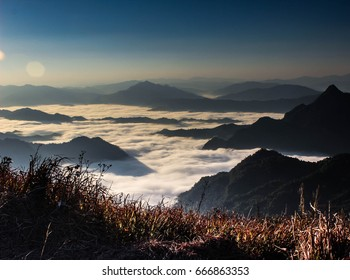 Phu Chi Fa viewpoint, sunrise above the clouds, Thailand
