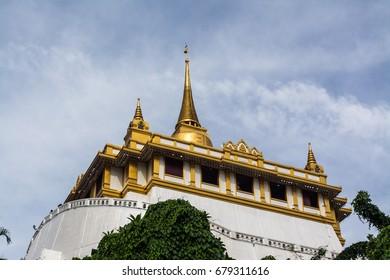 Phu Khao Thong or Golden mountainis a steep artificial hill inside the Wat Saket compound. Bangkok Thailand.