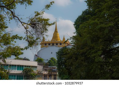 Phu Khao Thong (The Golden Mount) is the most famous landmark, Bangkok, Thailand